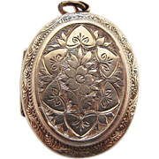 Antique Victorian Floral Engraved 800 Silver Photo Locket