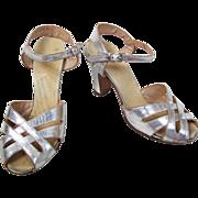 SALE Vintage 1930's Silver Leather Strappy Peep Toe Sling Back Heels