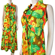 1970's Vintage Floral Print Hawaiian Maxi Dress With Ruffle Neckline