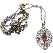 Vintage Art Deco Period Sterling Silver Filigree Pendant Necklace With Paste Stone