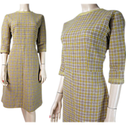 SALE 1950's Vintage Plaid Wool Dress