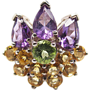 Vintage Sterling Silver Amethyst Citrine And Tourmaline Flower Ring Size 8 1/2 - 8 3/4
