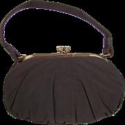 Vintage 1940's Garay Chocolate Brown Rayon Blend Handbag
