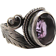 Vintage Sterling Silver Amethyst Ring With Leaves And Scrolls Size 7 3/4