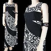 1970's Merry Finn Black And White Printed Cotton Maxi Dress