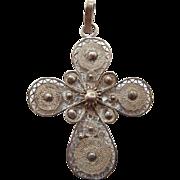 Vintage Sterling Silver Filigree Cross Pendant