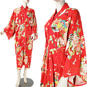 1930's Rayon Crepe Kimono With Stars Label
