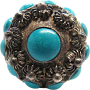 Vintage Mexican Sterling Silver Turquoise Adjustable Ring