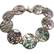 SOLD Vintage Taxco Mexican Sterling Silver Abalone Bracelet