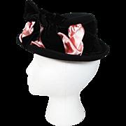 Vintage 1930's Lamson & Hubbard Black Felt Hat With Velvet And Satin Ribbons