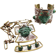 Vintage Mexican Mixed Metal Green Onyx Necklace And Cuff Bracelet Set