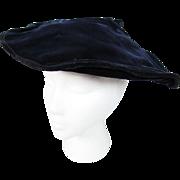 SALE Vintage 1940's Blue Velvet Pancake Hat