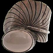 Vintage Sterling Silver Pink Quartz Ring Size 9
