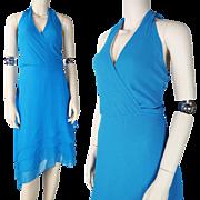 SALE 1970's Azure Blue Halter Style Tango Dress