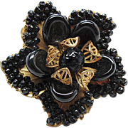Vintage Signed Mirriam Haskell Gold - Tone Flower Brooch With Black Glass Beads