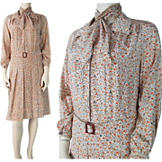 SALE 1950's Belted Floral Print Silk Dress With Matching Scarf