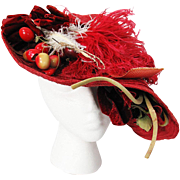 Vintage 1930's Red Straw Hat With Plumes Flowers And Berries