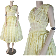 Vintage 1950's Lemon Yellow Sundress / Party Dress