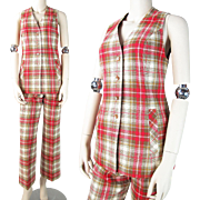 SALE Vintage 1960's Pendleton Wool Plaid Two - Piece Trousers And Vest Suit / Ensemble