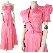 1930's Vintage Bias Cut Pink Taffeta Evening Gown With Cropped Jacket