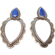 Vintage Southwestern Style Sterling Silver Lapis Lazuli Earrings For Pierced Ears