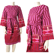Mod Vintage Late 1960's Graphic Print Belted Dress With Bell Sleeves By Gerald Pierce