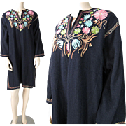 SALE Vintage 1970's Tambour Embroidered Wool Dress By Cyma Knit