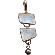 Vintage Modernist Sterling Silver Rainbow Moonstone Pendant