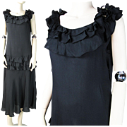 1930's Vintage Black Rayon Crepe Ruffled Evening Dress With Floral Adornments