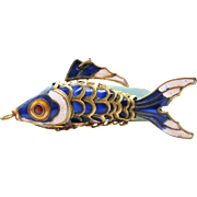 Vintage Gold - Tone Enameled Articulated Fish Pendant