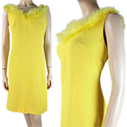1960's Yellow Sleeveless Shift Dress With Plumes