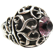 Vintage Signed Napier Silver Plate Adjustable Ring With Amethyst Glass Stone