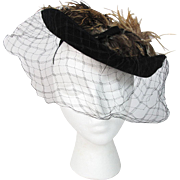 Vintage 1930's Daphne New York Black Velour Hat With Plumes And Veil