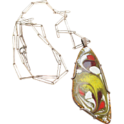 Vintage Modernist Enameled Sterling Silver Pendant Necklace