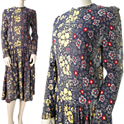 Vintage Early 1970's Long Sleeved Floral Print Dress