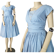 SALE Vintage 1950's Blue Cotton Dress With Floral And Rhinestone Adornments