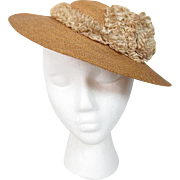 Vintage 1930's Straw Hat With Lace Adornment