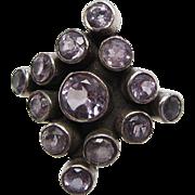 Vintage Sterling Silver Amethyst Ring Size 5 3/4 - 6