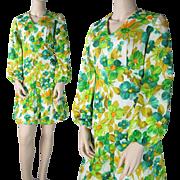 SALE Vintage 1960's Floral Print Dress With Bishop Sleeves