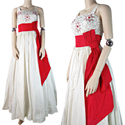 SALE 1960's Red & White Taffeta Evening Gown With Sash And Beaded Bodice
