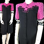 SALE Vintage 1940's Color Block Crepe Dress With Sequins