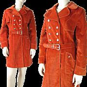 Vintage 1970's Belted Brown Suede Velvet Coat By Forecaster Of Boston