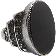 Vintage Art Deco Sterling Silver Onyx And Marcasite Ring Size 5 3/4