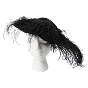 Antique Edwardian Black Velvet Hat With Plumes And Lamé