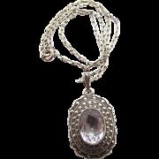 Art Deco Vintage Uncas Sterling Silver Amethyst Marcasite Pendant Necklace