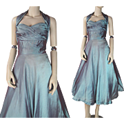 1950's Vintage Halter - Style Party Dress With Attached Crinoline