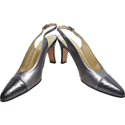 Vintage 1980's Salvatore Ferragamo Sling Back High Heeled Silver Leather Shoes Size 9 B ...