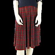 Vintage 1950's Red Tartan Plaid Pleated Wool Skirt