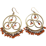 1970's Vintage Brass And Coral Bead Dangle Earrings
