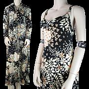1970's Vintage Two - Piece Floral Print Nylon Jersey Maxi Dress And Jacket Ensemble